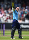 Adam Lyth acknowledges his hundred, Lancashire v Yorkshire, Royal London Cup, Old Trafford, June 5, 2018