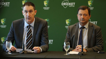 James Sutherland announces his resignation in the presence of David Peever