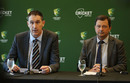 James Sutherland announces his resignation in the presence of Cricket Australia chairman David Peever, Melbourne, June 6, 2018