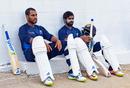 Roshen Silva and Niroshan Dickwella prepare for a hit in the nets, West Indies v Sri Lanka, 1st Test, Port of Spain, June 5, 2018