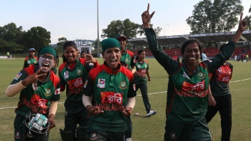 Bangladesh players are ecstatic after their seven-wicket win against India