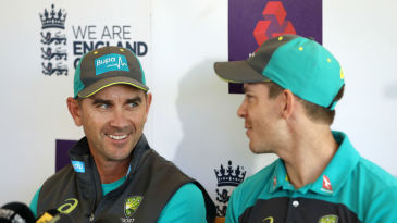 Justin Langer and Tim Paine face the media at Lord's