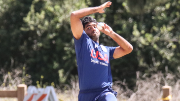 Saurabh Netravalkar leaps into his delivery stride at USA trials