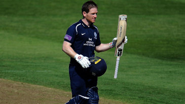 Eoin Morgan acknowledges his hundred