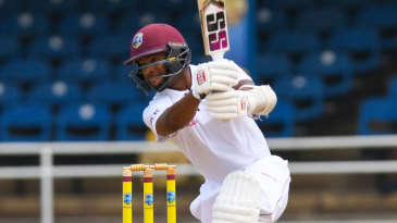 Shai Hope leans into a cover drive