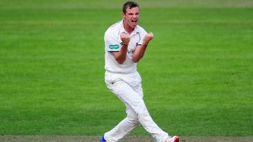 Josh Poysden celebrates a wicket
