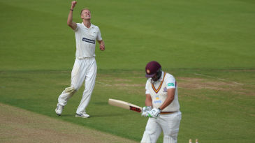 Zak Chappell celebrates his maiden five-wicket haul