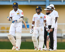 Lahiru Gamage and Kusal Mendis share a laugh, West Indies v Sri Lanka, 1st Test, Port of Spain, 4th day, June 9, 2018