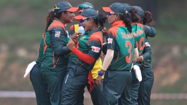 Bangladesh's players celebrate a wicket