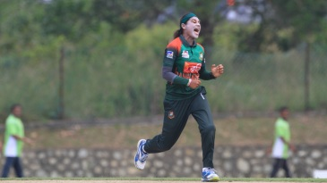 Jahanara Alam is overjoyed after taking a wicket