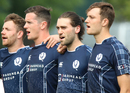 Dylan Budge sings 'Flower of Scotland' during the anthems ahead of his ODI debut, Scotland v England, only ODI, Edinburgh, June 10, 2018