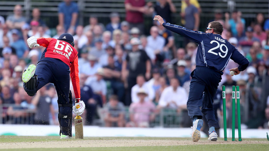 Joe Root was run out after a call from Alex Hales