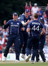 Richie Berrington celebrates a breakthrough, Scotland v England, Only ODI, Edinburgh, June 10, 2018
