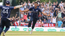 Safyaan Sharif sprints off after the final wicket to seal a historic maiden win over England, Scotland v England, only ODI, Edinburgh, June 10, 2018
