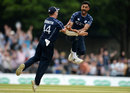 Safyaan Sharif after claiming the final wicket, Scotland v England, Edinburgh, June 10, 2018