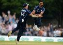 Safyaan Sharif after claiming the final wicket, Scotland v England, Edinburgh, June 10, 2018