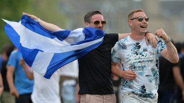 Fans celebrate Scotland's victory over England
