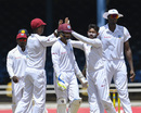 Devendra Bishoo is congratulated after taking a wicket, West Indies v Sri Lanka, 1st Test, Port of Spain, 5th day, June 10, 2018