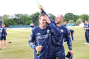 Captain Kyle Coetzer gives Calum MacLeod a well deserved victory shower, Scotland v England, only ODI, Edinburgh, June 10, 2018