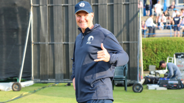 Scotland coach and big wave surfer Grant Bradburn throws up the 'shaka' after the win