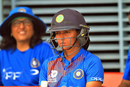 A pensive Harmanpreet Kaur awaits her turn in the dugout, India v Bangladesh, women's Asia Cup final. Kuala Lumpur, June 10, 2018