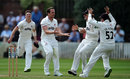 Josh Davey is mobbed by his team-mates, Somerset v Nottinghamshire, County Championship, Division One, Taunton, June 11, 2018