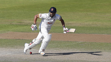 Ravi Bopara drops the ball at his feet and sets off