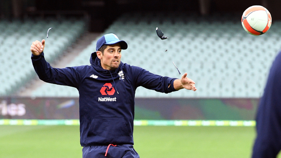 Alastair Cook's sunglasses break after he heads a football during practice