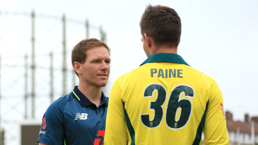 Eoin Morgan and Tim Paine meet on the eve of the first ODI
