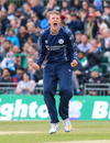 Michael Leask roars with delight after claiming another wicket, Scotland v Pakistan, 2nd T20I, Edinburgh, June 13, 2018