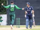 Usman Khan celebrates after bowling Scotland captain Kyle Coetzer, Scotland v Pakistan, 2nd T20I, Edinburgh, June 13, 2018