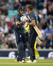 David Willey and Liam Plunkett celebrate the moment of victory, England v Australia, 1st ODI, Kia Oval, June 13, 2018