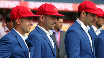 The Afghanistan players, including Rashid Khan and Mohammad Nabi don their maiden Test caps