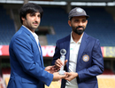 Asghar Stanikzai and Ajinkya Rahane pose with the trophy, India v Afghanistan, Only Test, Bengaluru, 1st day, June 14, 2018
