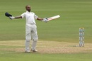 Shikhar Dhawan celebrates a century. India v Afghanistan, Only Test, Bengaluru, 1st day.