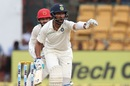 Cheteshwar Pujara reacts in the field, India v Afghanistan, Only Test, Bengaluru, 1st day, June 14, 2018