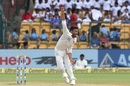 Yamin Ahmadzai is a picture of exertion as he delivers the ball, India v Afghanistan, only Test, Bengaluru, 2nd day, June 15, 2018