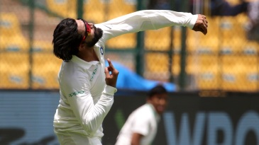 Ravindra Jadeja flings the ball in the air
