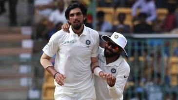 Ishant Sharma and Ravindra Jadeja celebrate a wicket
