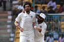 Ishant Sharma and Ravindra Jadeja celebrate a wicket, India v Afghanistan, Only Test, Bengaluru, 2nd day, June 15, 2018