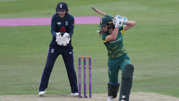 Laura Wolvaardt drives through the covers