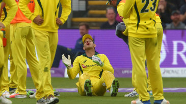 Tim Paine received a bloody nose after the ball bounced unexpectedly in front of him