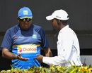 Sri Lanka team manager Asanka Gurusinha speaks with a match official, West Indies v Sri Lanka, 2nd Test, Gros Islet, 3rd day, June 16, 2018