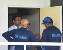 Match referee Javagal Srinath in conversation with Sri Lanka coach Chandika Hathurusingha, West Indies v Sri Lanka, 2nd Test, Gros Islet, 3rd day, June 16, 2018