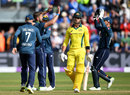Marcus Stoinis chopped on against Liam Plunkett, England v Australia, 2nd ODI, Cardiff, June 16, 2018