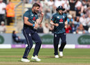 Liam Plunkett was pretty chuffed with his breakthrough, England v Australia, 2nd ODI, Cardiff, June 16, 2018