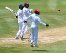 Dinesh Chandimal edges Devendra Bishoo wide of Devon Smith at slip, West Indies v Sri Lanka, 2nd Test, St Lucia, 4th day, June 17, 2018