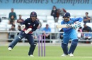 Shreyas Iyer hits through the off side, ECB XI v India A, Tour match, Headingley, June 17, 2018