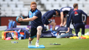 Jonny Bairstow sports some strapping on his knee during training