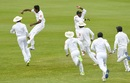 Sri Lanka's players animatedly celebrate a wicket, West Indies v Sri Lanka, 2nd Test, St Lucia, 5th day, June 18, 2018